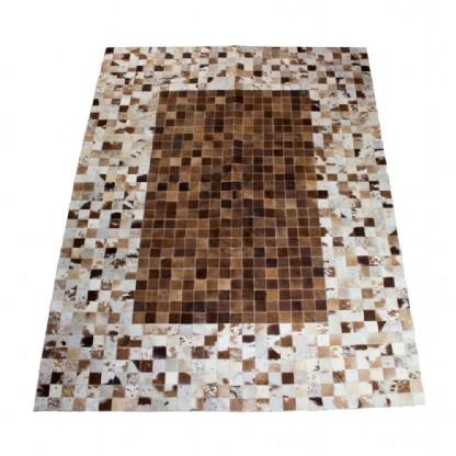 Tapete de Couro Quadriculado 1,45x1,95m Branco e Marrom