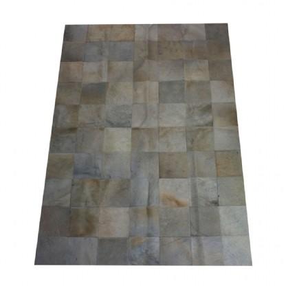 Tapete de Couro Quadriculado 1,50x1,00m Tons de Branco