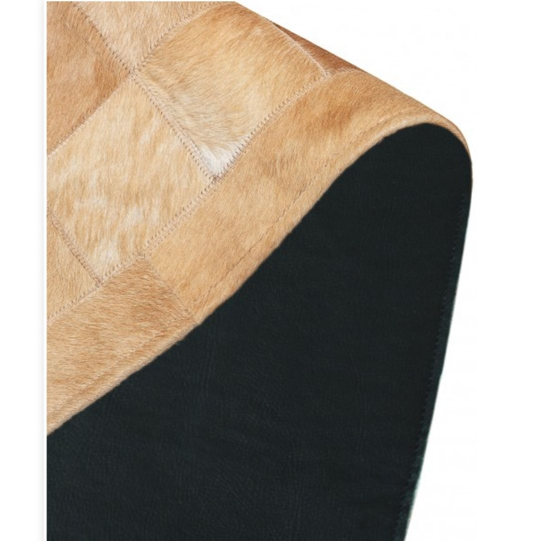 Tapete de Couro Quadriculado  1,50x1,05 Tons de Bege c/ Borda