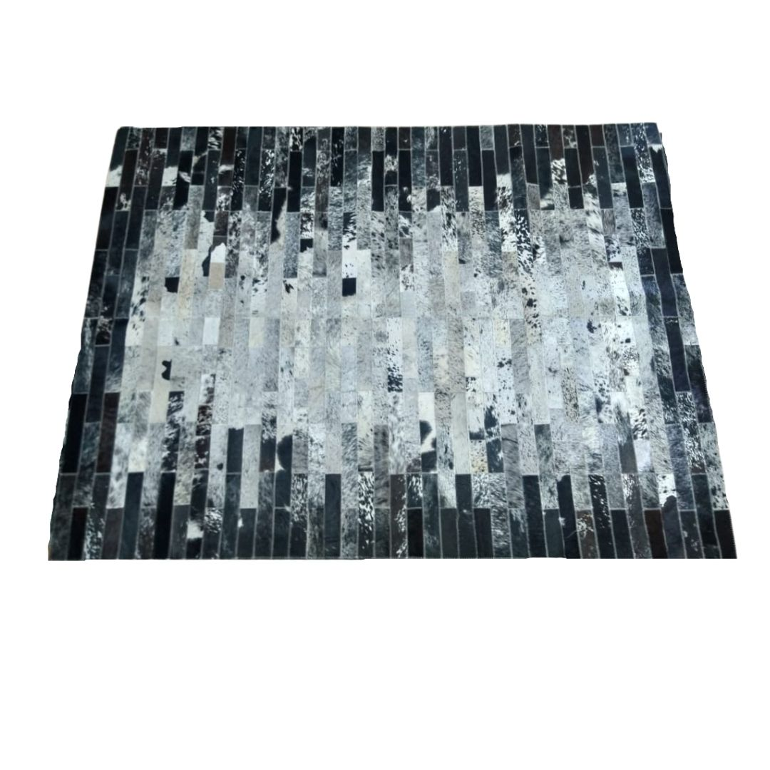 Tapete de Couro Quadriculado 1,50X1,95 Mesclado Preto e Branco