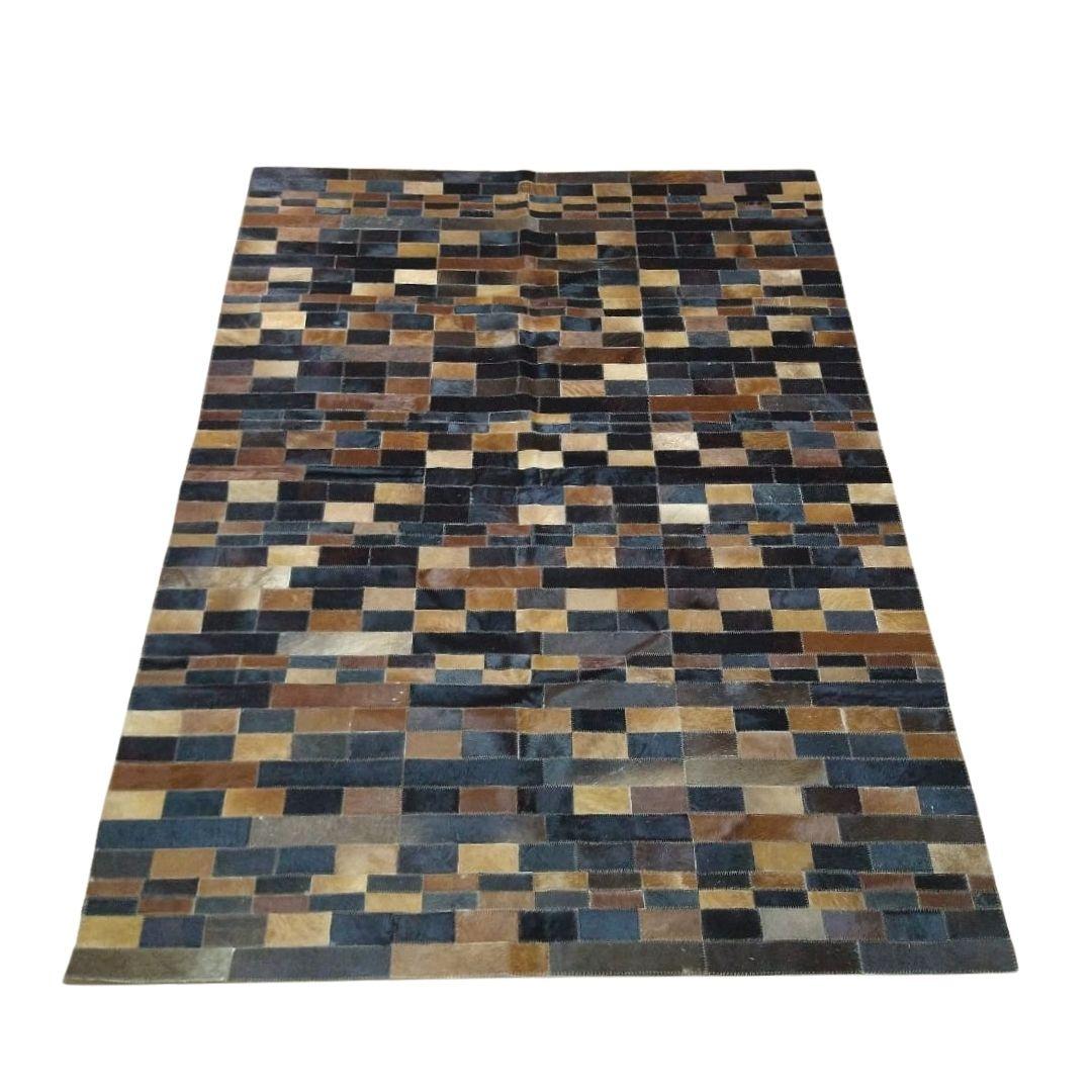 Tapete de Couro Quadriculado  1,50x2,00 Tons de preto e Marrom