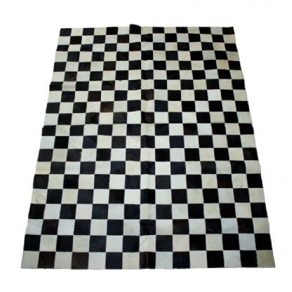 Tapete de Couro Quadriculado 1,50x2,00m Preto e Branco