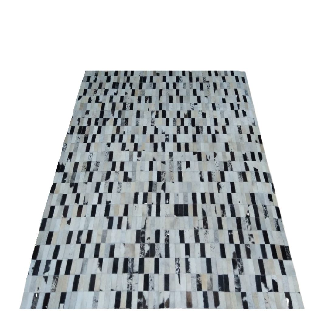 Tapete de Couro Quadriculado 1,50x2,07 Preto e Branco Malhado