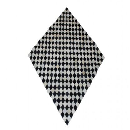 Tapete de Couro Quadriculado 1,70x0,90m Preto e Branco