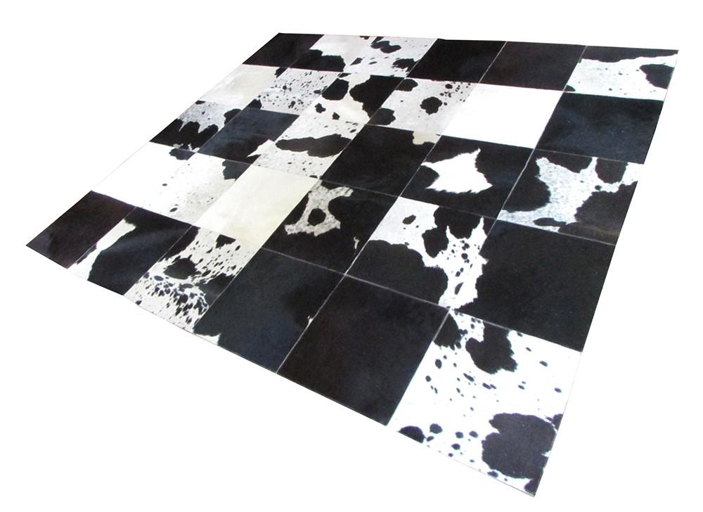 Tapete de Couro Quadriculado 2,00x2,30m Branco e Preto