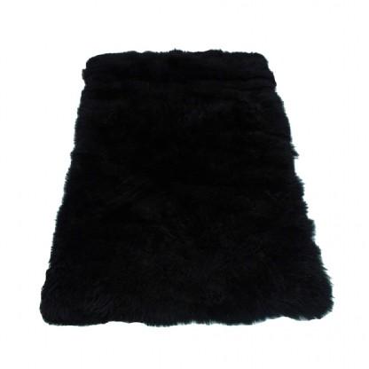 Tapete de Pele de Carneiro(Ovelha) com Lã Natural Aprox. 1,00x1,50m Preto