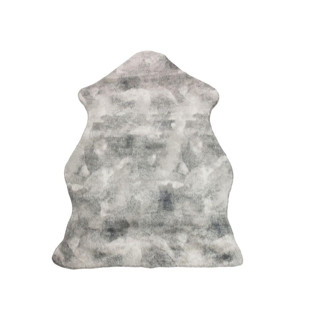 Tapete Importado Sintetico 0,80x0,50m Cinza e Branco formato Pelego