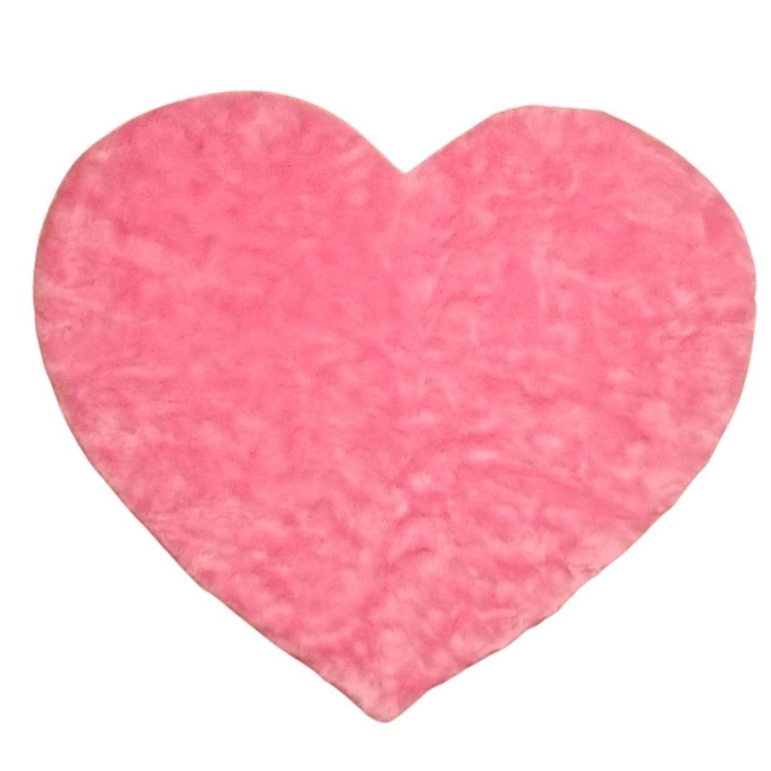 Tapete Importado Sintetico em formato de Coração Rosa 1,00m diam.