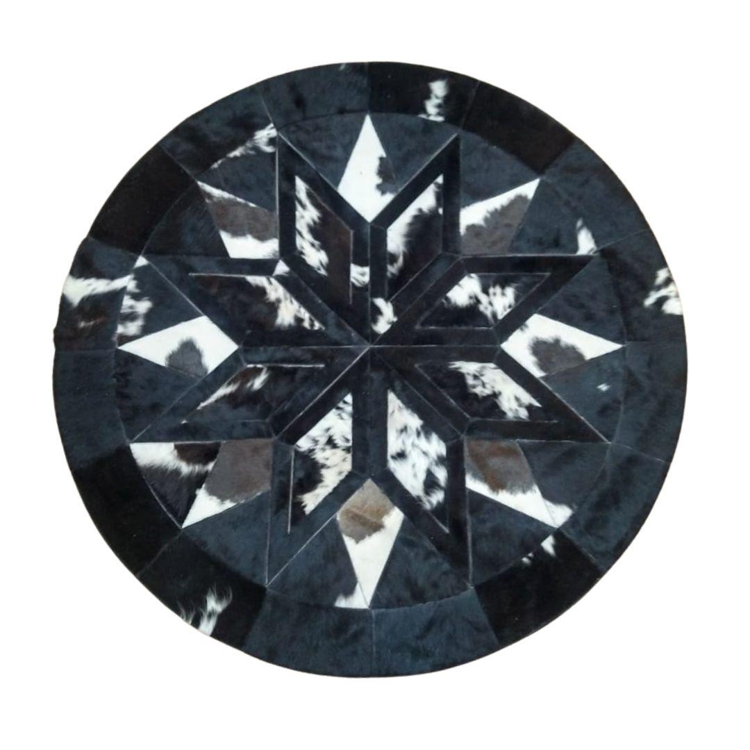 Tapete Mandala de Couro 1,60 diam Preto e Branco