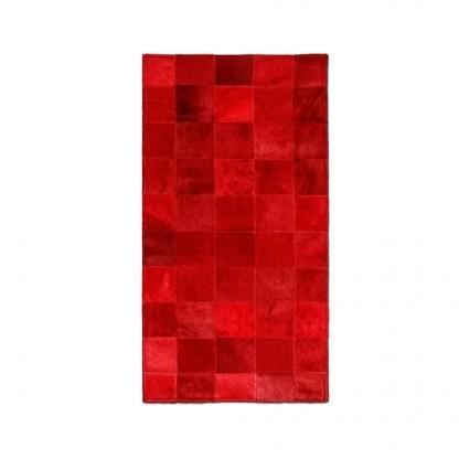 Tapete Trilho de Couro Quadriculado 0,45x0,95m Vermelho