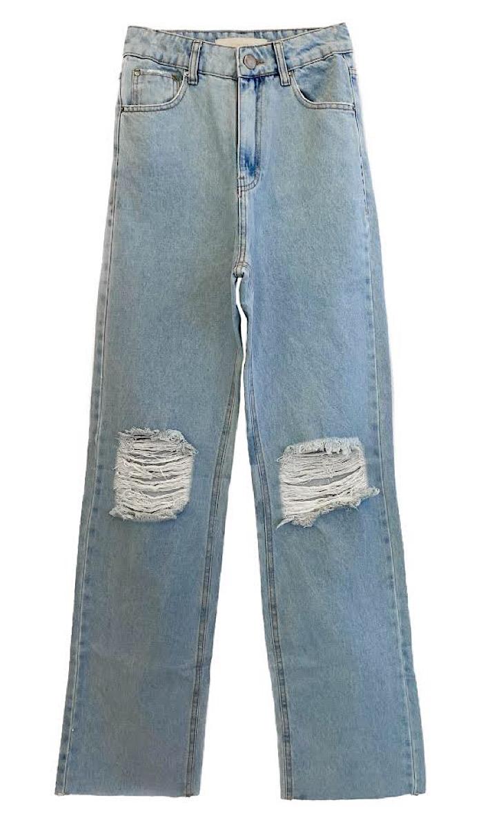 Calça Jeans Feminina WIDE DESTROYED