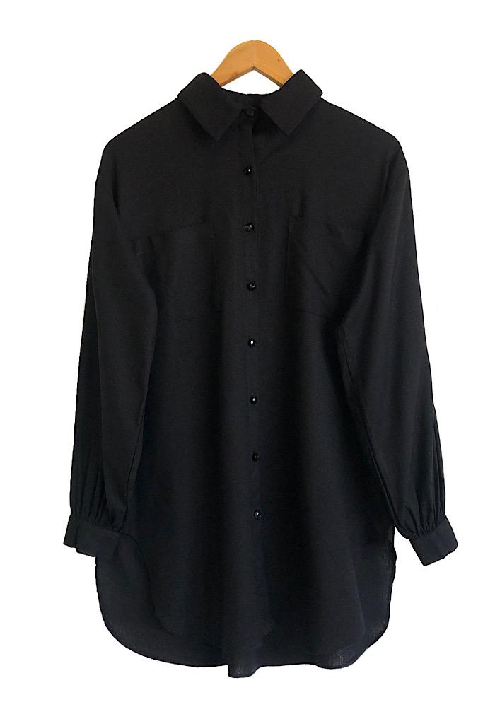Camisa Feminina Linho ISADORA Preta