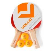 Kit Tênis de Mesa Ping Pong com 2 Raquetes e 3 Bolas Vollo