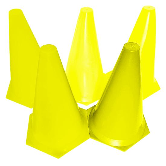 Kit C/ 10 Cones de Plástico Rígido 23cm