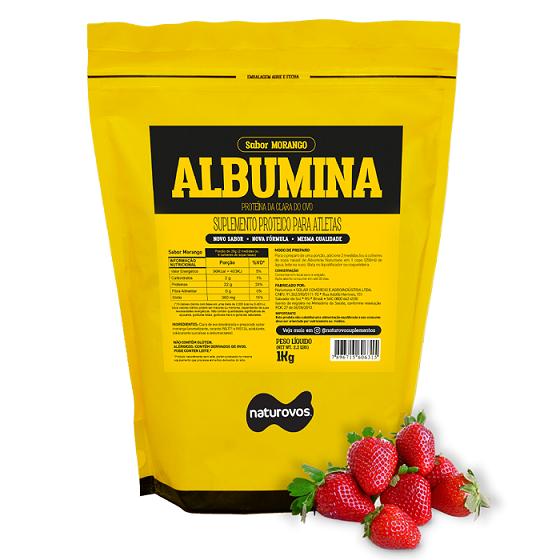 ALBUMINA (500g) MORANGO - NATUROVOS - 025