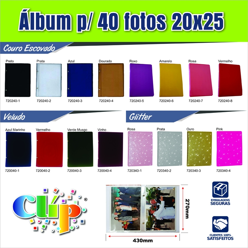 1 Album de foto  Couro Veludo ou Glitter .20x25/40fotos