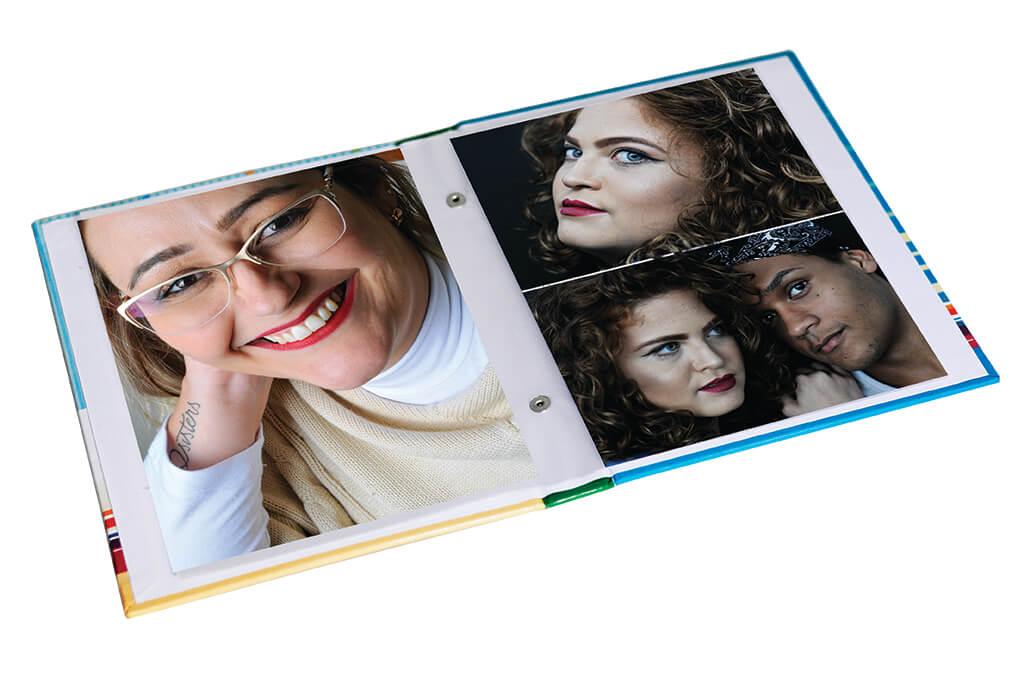 1 Album de foto veludo Glitter e Couro   15x21/ 60fotos