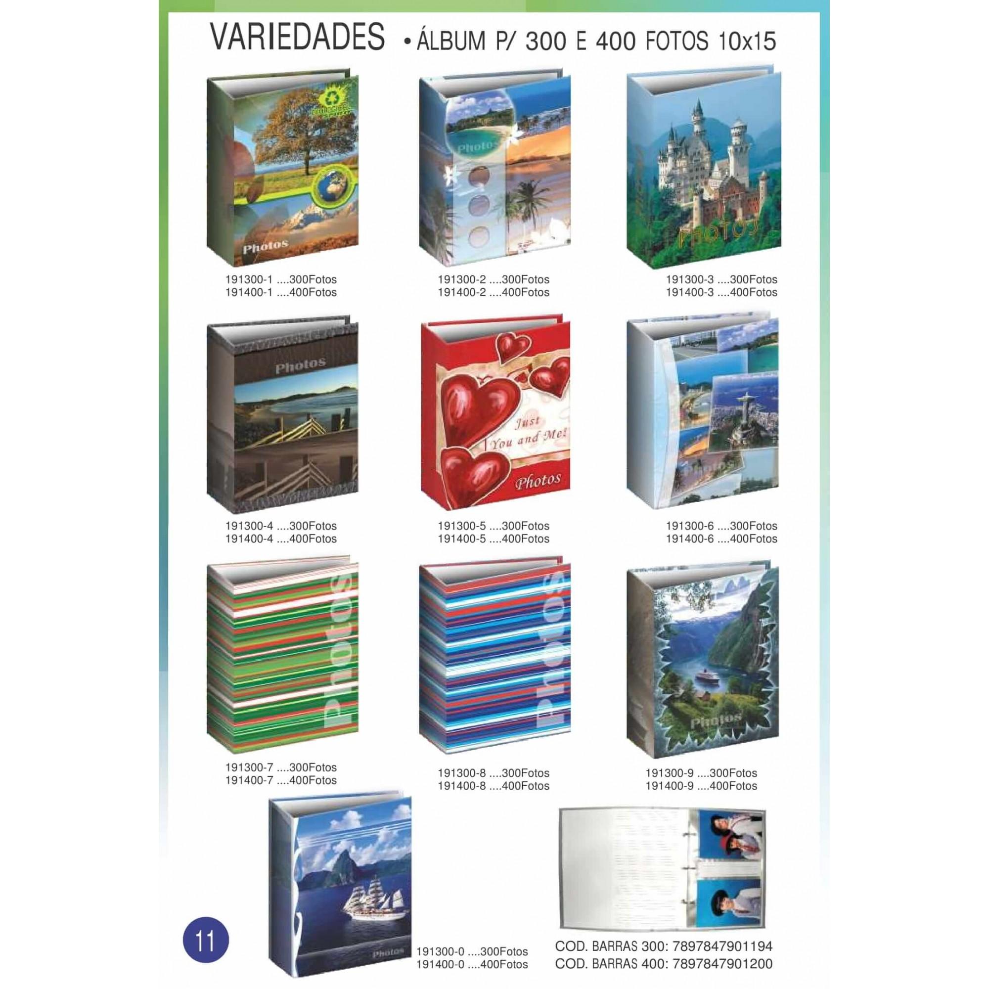 4 Album Luxo Ferrag 10x15/300ate 500 F. + 2 Refis 10x15/120f
