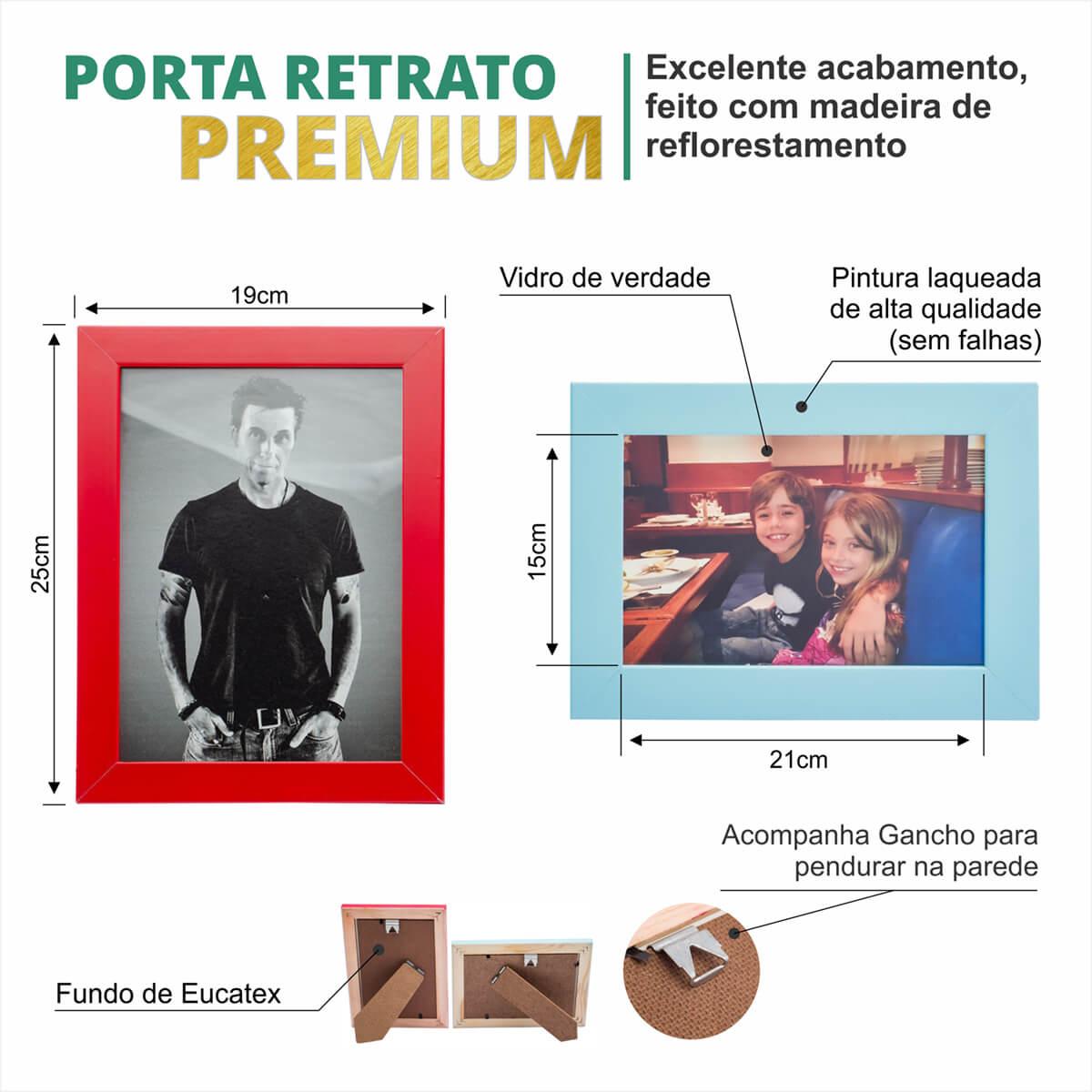 4 PORTA RETRATOS 15X21 COMBO MADEIRA COM VIDRO LAQUEADO
