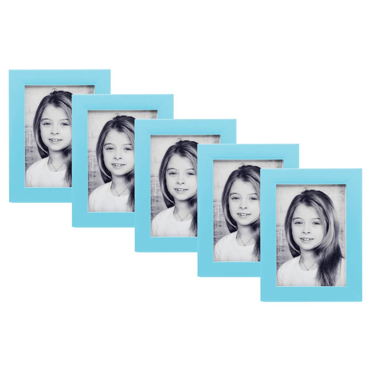 kit de 5 porta retratos 15x21 madeira com vidro varias cores