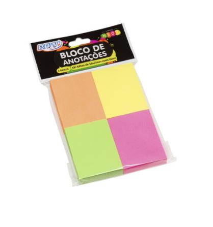 Bloco Smart Notes 38x51mm BRW - Colorido Neon - 100fls - 4bl
