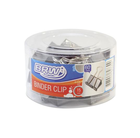 Clipes Para Papel Binder 15mm BRW - Pote c/60un - Preto