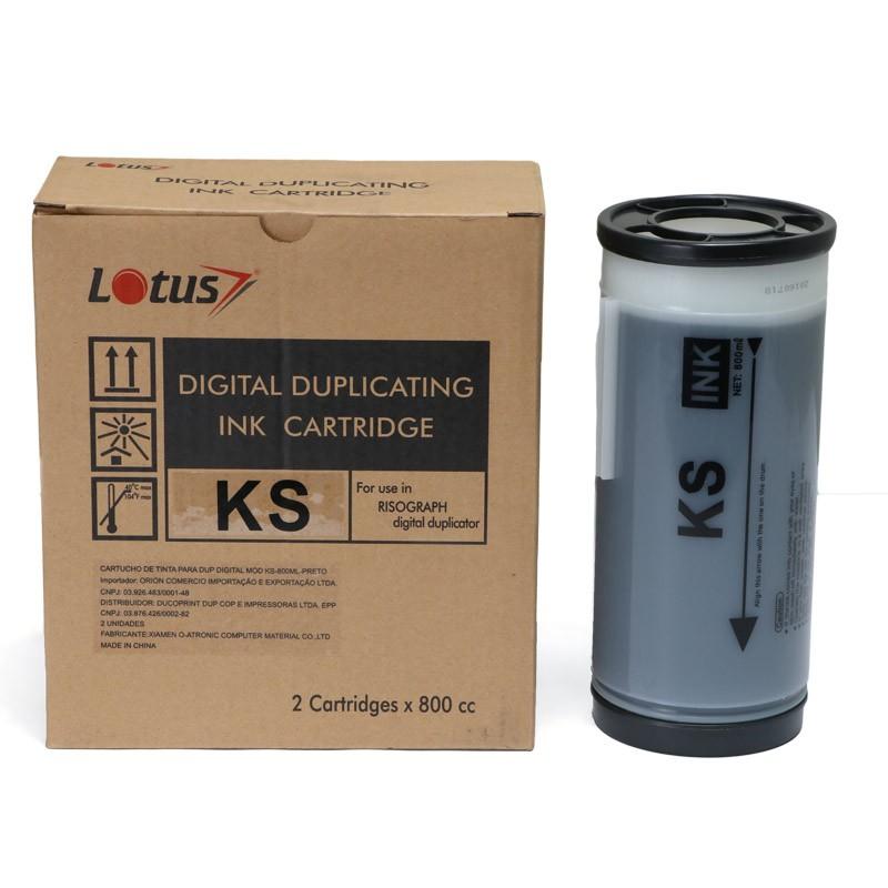 Tinta Compatível Lotus Preto p/ Duplicador Riso KS500 KS600 800ml - Kit c/ 2