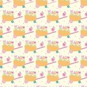 Tecido Tricoline Carrinho de Flores Fabricart 1,00 x 1,50m