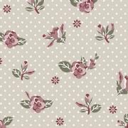 Tecido Tricoline Floral Rosa com Fundo Poá Cinza Fuxicos e Fricotes 1,00 X 1,50m