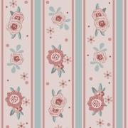 Tecido Tricoline Flores e Listras Tons Candy Fuxicos e Fricotes 1,00 X 1,50m