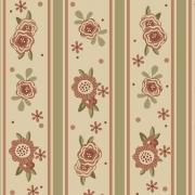 Tecido Tricoline Flores e Listras Tons de Bege Fuxicos e Fricotes 1,00 X 1,50m