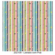 Tecido Tricoline Listrado com Poá Fabricart 1,00 x 1,50m