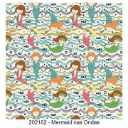 Tecido Tricoline Mermaid nas Ondas Fabricart 1,00 x 1,50m