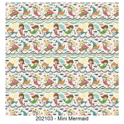 Tecido Tricoline Mini Mermaid Fabricart 1,00 x 1,50m