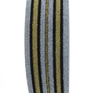 Elástico Crochet Listrado Metalizado 39mm nº400 Cor:114 Ouro São José 25m