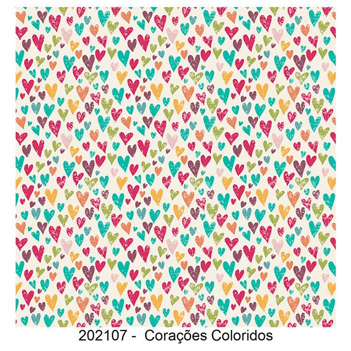 Tecido Tricoline Corações Coloridos Fabricart 1,00 x 1,50m