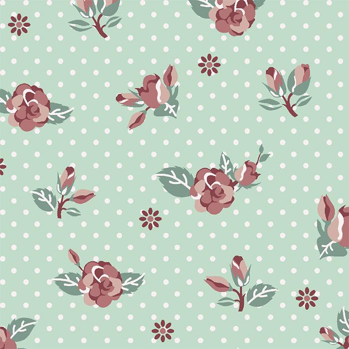 Tecido Tricoline Floral Rosa com Fundo Poá Verde Tiffany Fuxicos e Fricotes 1,00 X 1,50m