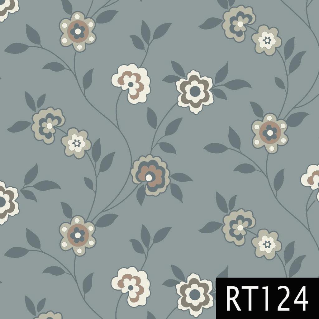 Tecido Tricoline Floral Tons de Azul Fuxicos e Fricotes 1,00 X 1,50m