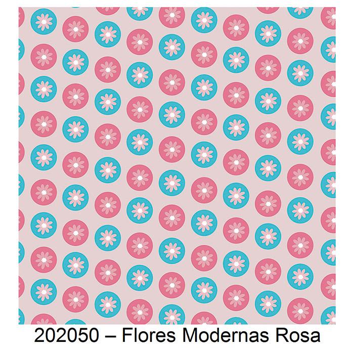 Tecido Tricoline Flores Modernas Rosa Fabricart 1,00 x 1,50m