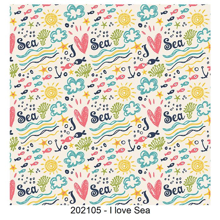 Tecido Tricoline I Love Sea Fabricart 1,00 x 1,50m