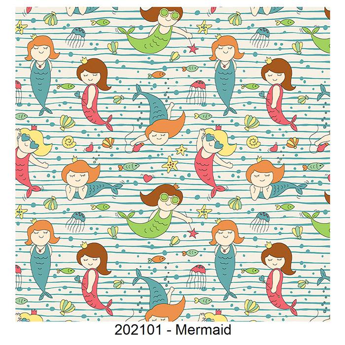 Tecido Tricoline Mermaid Fabricart 1,00 x 1,50m