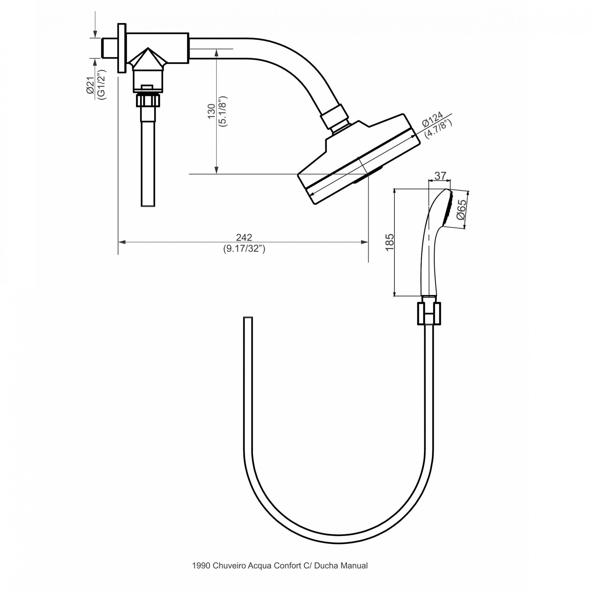 Chuveiro Acqua Comfort Com Ducha Manual 1990