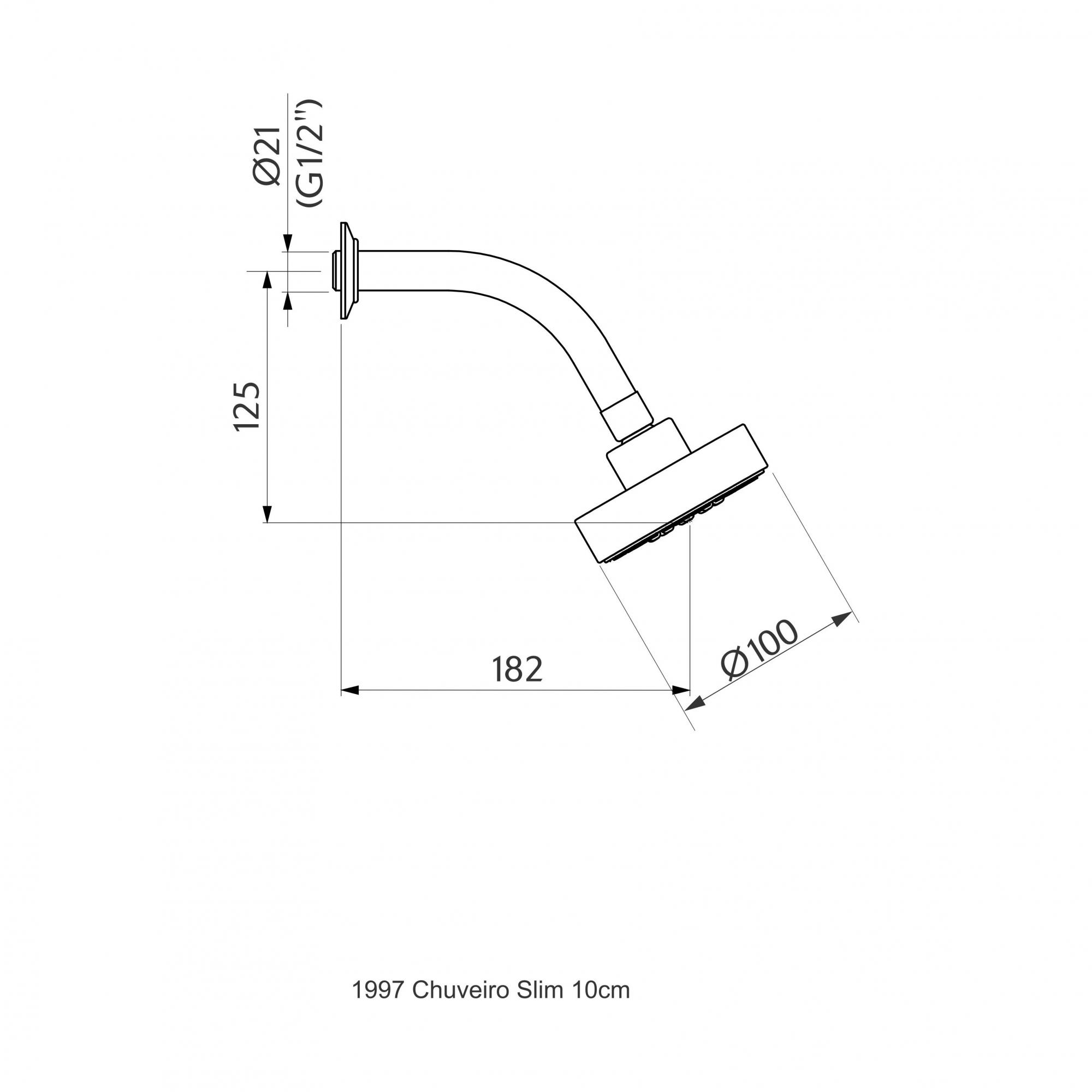 Chuveiro de Parede Slim 10cm - Cromado