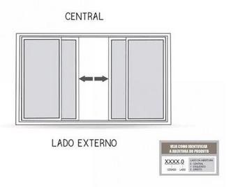 Janela de Correr Central 4 Folhas com Grade 100x150