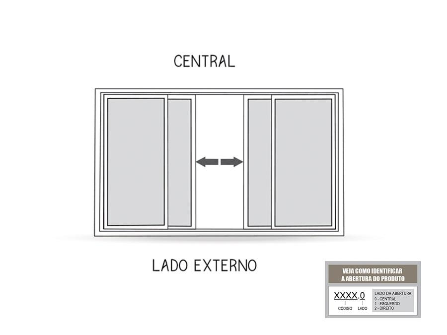 Janela de Correr Central 4 Folhas Riobras Aluminio 100x150