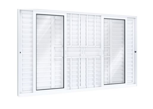 Janela Veneziana de Alumínio 6 Folhas Com Grade 100x150Cm