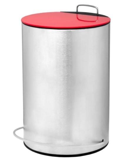 Lixeira Inox Multiuso Redonda com Pedal e Tampa Vermelha 5 Litros