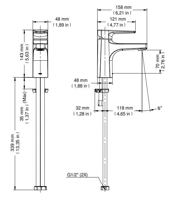Misturador Monocomando de Mesa para Banheiro Lift - Cromado