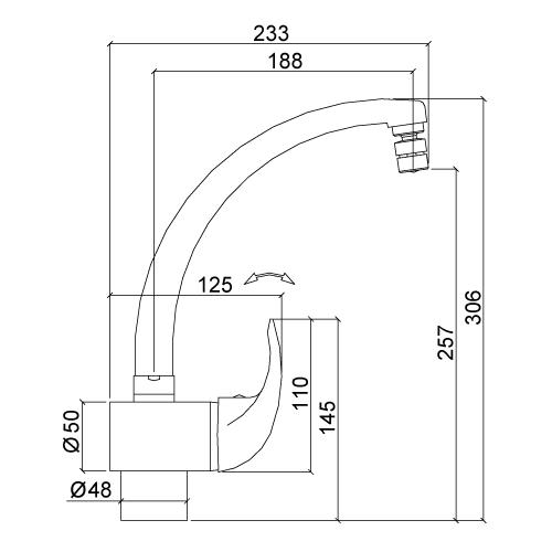 Misturador Monocomando para Cozinha de Mesa com Bica Alta Móvel - Cromado