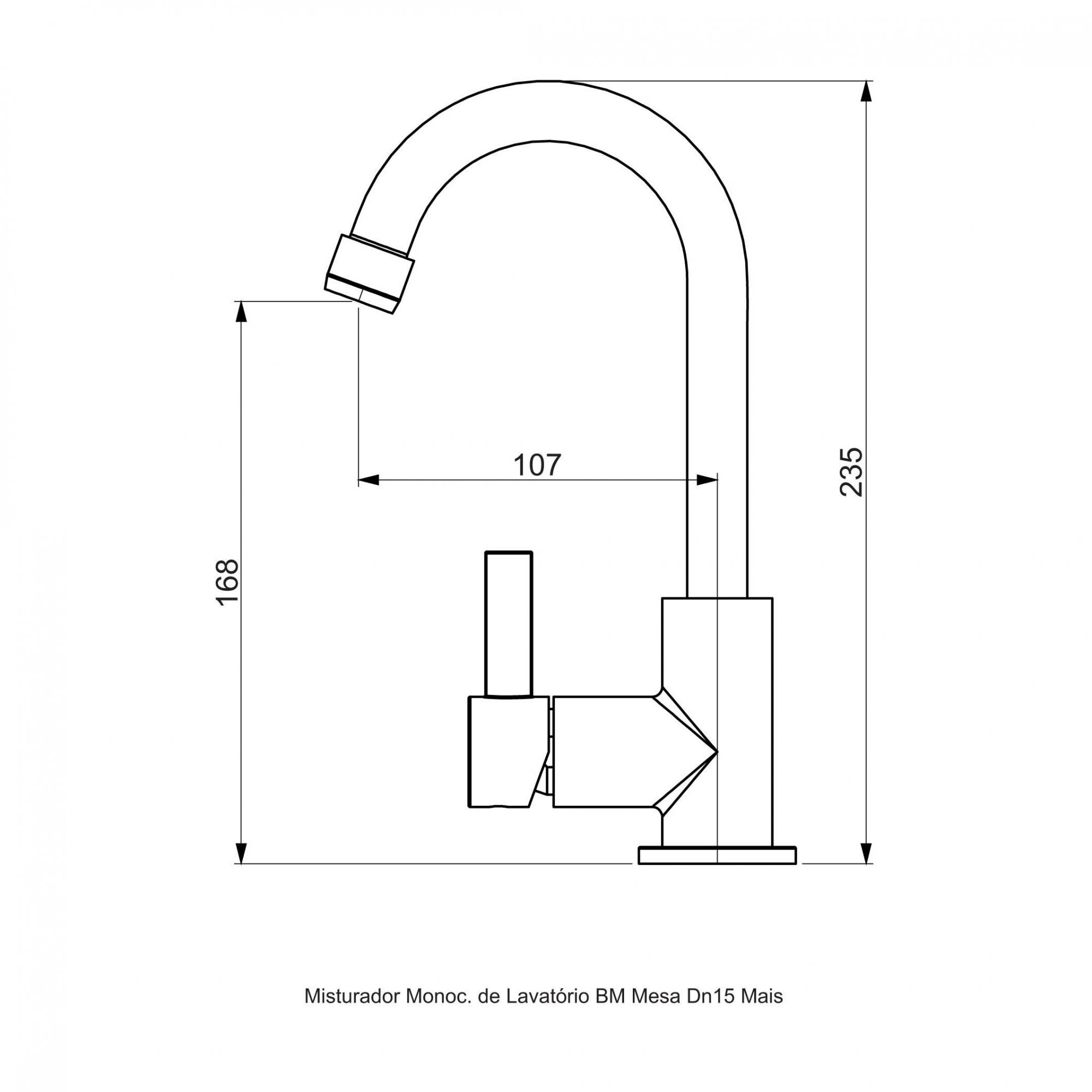 Misturador Monocomando para Lavatório - Cromado